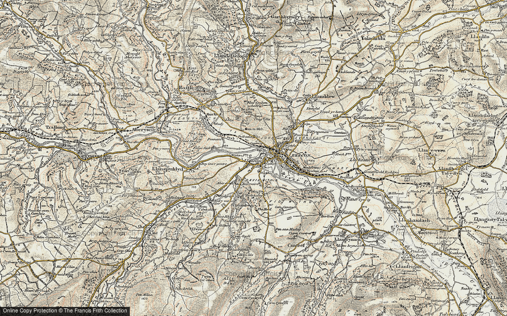 Old Map of Historic Map covering Abergwdi in 1900-1901