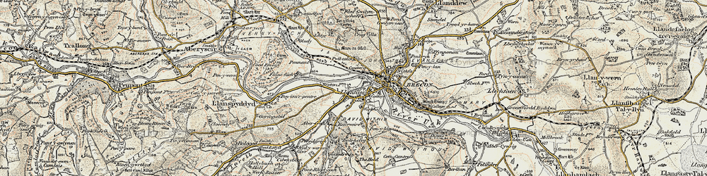 Old map of Abergwdi in 1900-1901