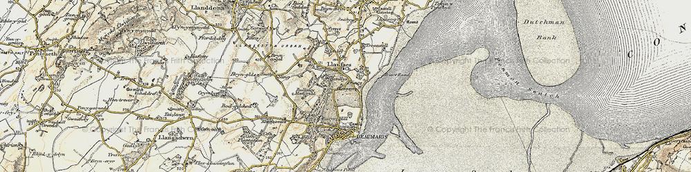 Old map of Llanfaes in 1903-1910