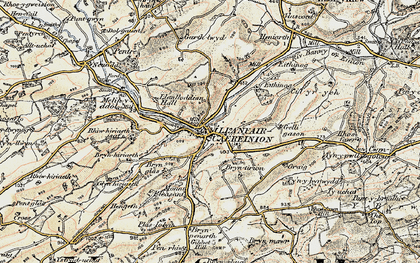 Old map of Llanfair Caereinion in 1902-1903