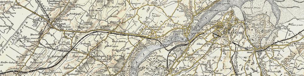Old map of Llanfair Pwllgwyngyll in 1903-1910