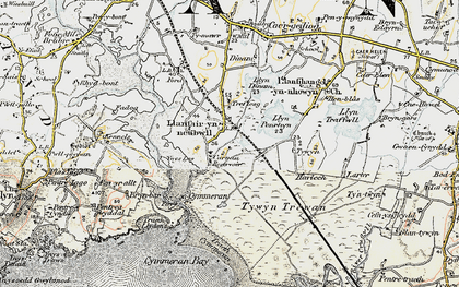 Old map of Ynys-las in 1903-1910