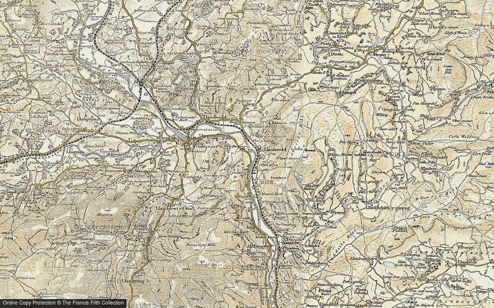 Old Map of Historic Map covering Aberedw Hill in 1900-1902