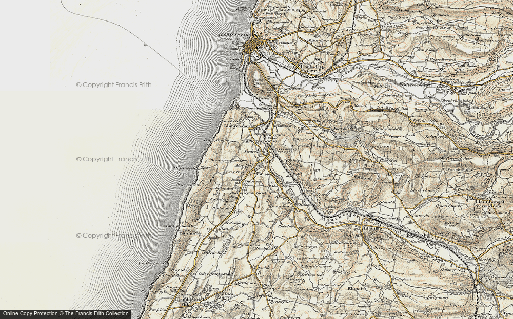 Old Map of Historic Map covering Aberllolwyn in 1901-1903