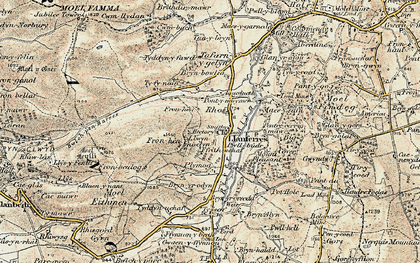 Old map of Llanferres in 1902-1903