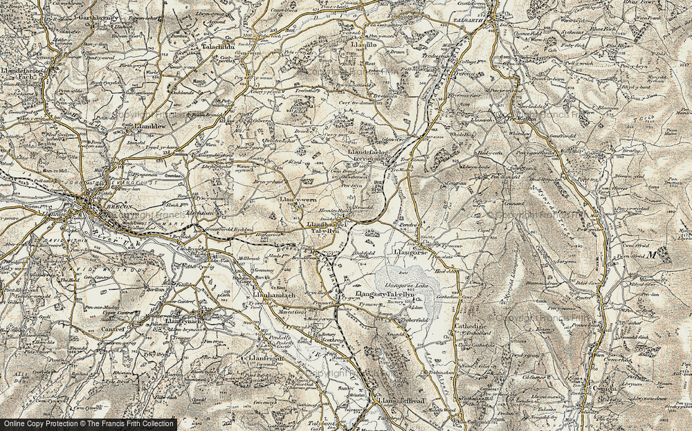 Old Map of Historic Map covering Afon Llynfi in 1900-1901
