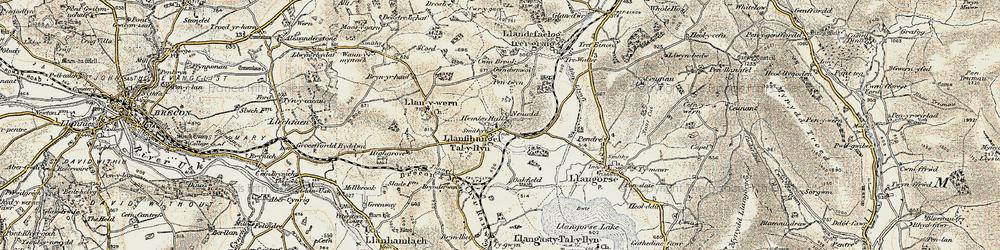 Old map of Afon Llynfi in 1900-1901