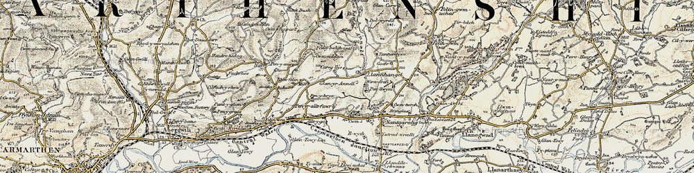 Old map of Afon Annell in 1901
