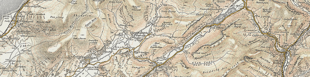 Old map of Llanfihangel-y-pennant in 1902-1903