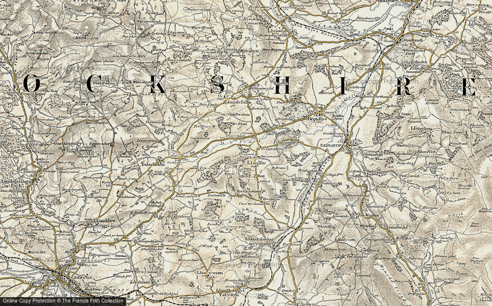 Old Map of Historic Map covering Allt Filo in 1900-1901
