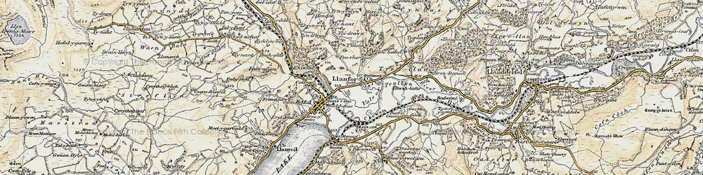 Old map of Llanfor in 1902-1903