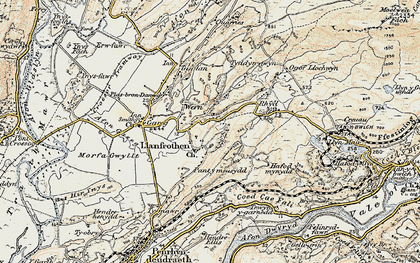 Old map of Llanfrothen in 1903