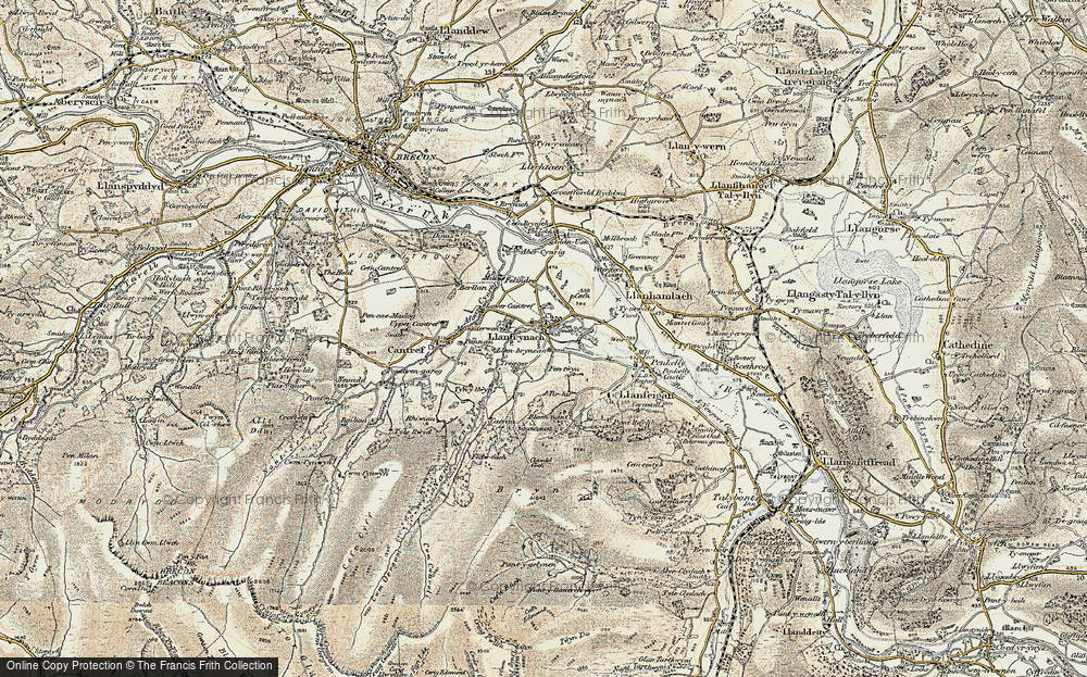 Old Map of Historic Map covering Afon Cynrig in 1900-1901
