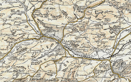 Old map of Llanfyllin in 1902-1903