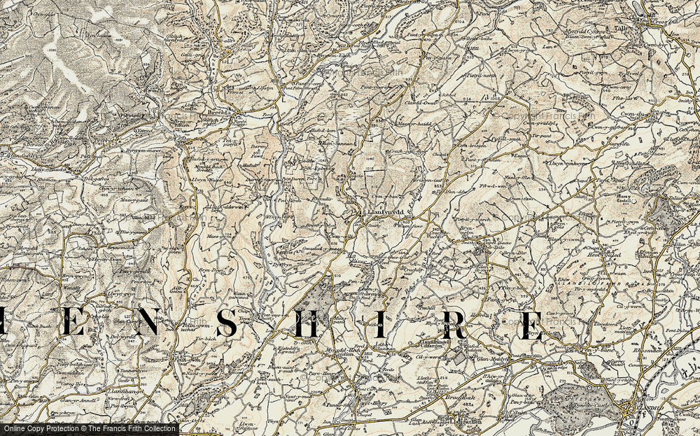 Old Map of Historic Map covering Afon Sannan in 1900-1901