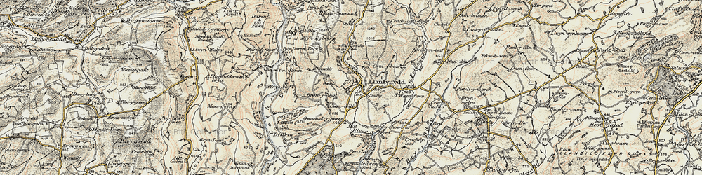 Old map of Afon Sannan in 1900-1901