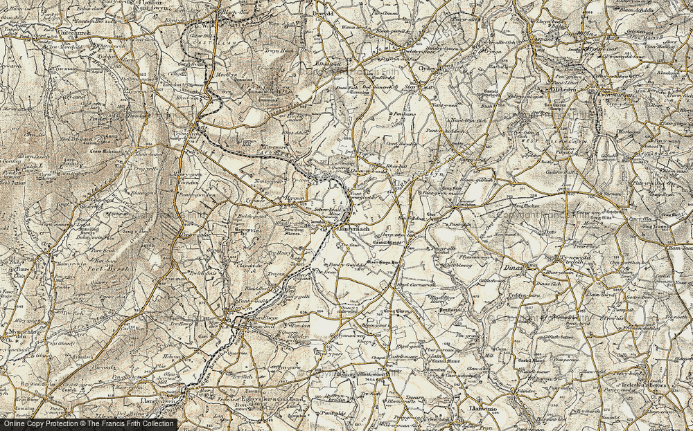 Old Map of Historic Map covering Afon Asen in 1901