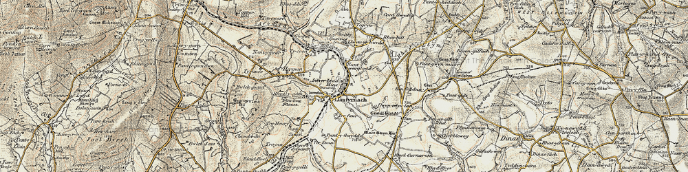 Old map of Afon Asen in 1901