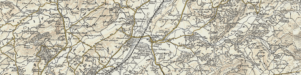 Old map of Llangadog in 1900-1901