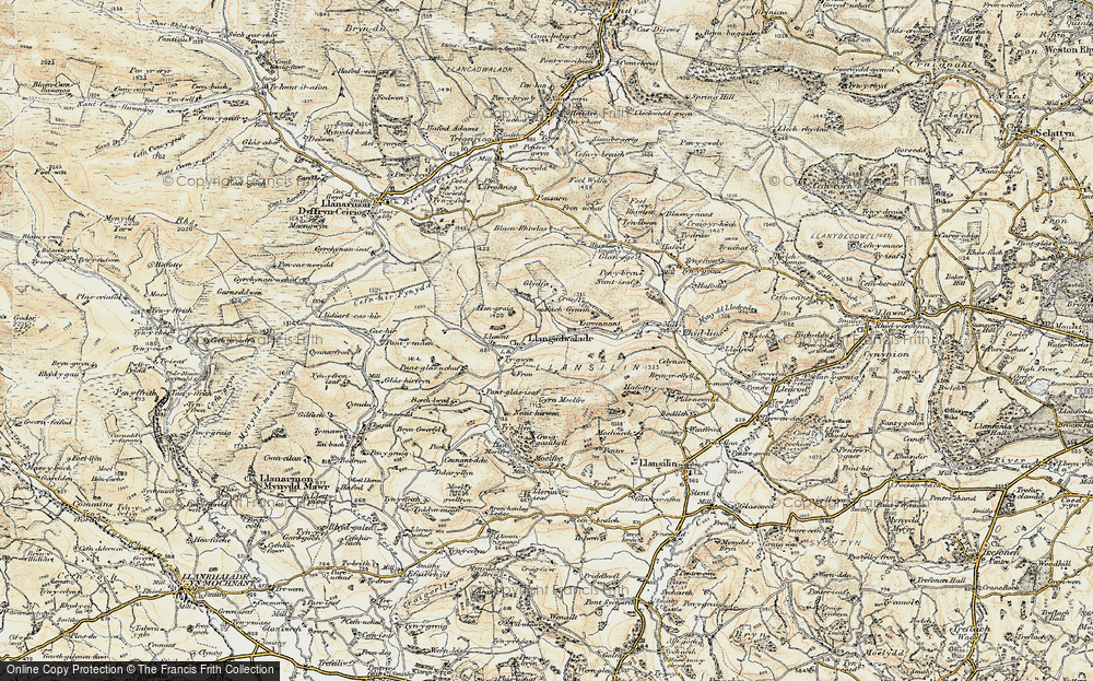 Old Map of Historic Map covering Lawnt, The in 1902-1903