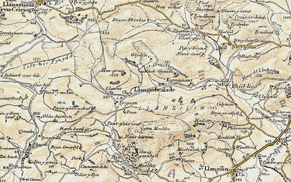 Old map of Ysgwennant in 1902-1903