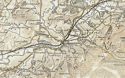 Old map of Llangammarch Wells in 1900-1902