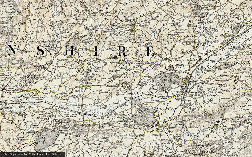 Old Map of Historic Map covering Aberglasney in 1900-1901