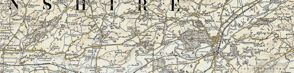 Old map of Aberglasney in 1900-1901