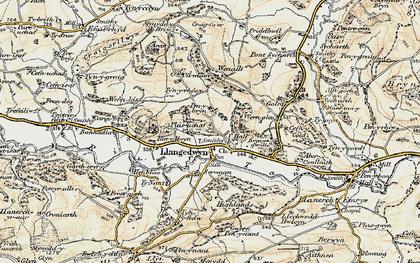 Old map of Llangedwyn in 1902-1903