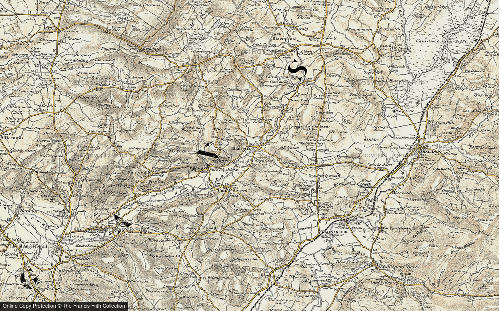 Old Map of Historic Map covering Aeron Dale in 1901-1903