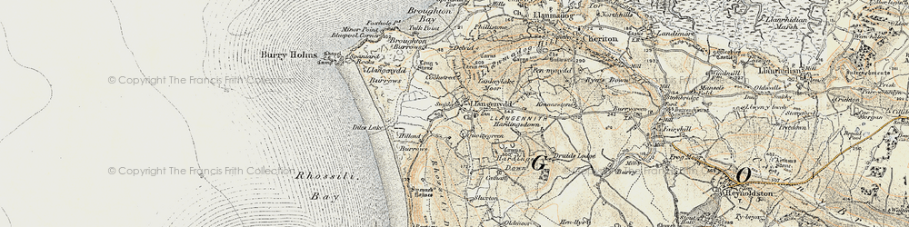 Old map of Llangennith in 1900-1901