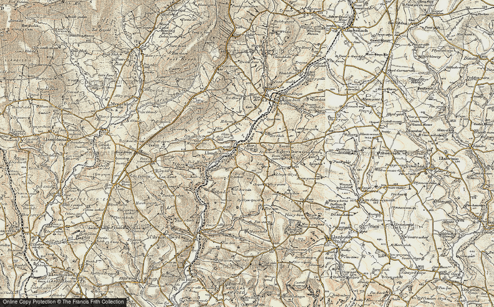 Old Map of Historic Map covering Afon Tigen in 1901
