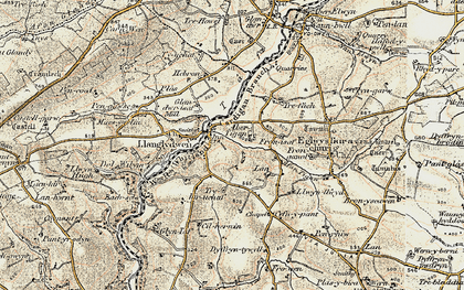 Old map of Afon Tigen in 1901