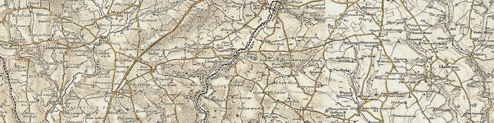 Old map of Afon Tigen in 1901