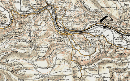 Old map of Llangollen in 1902-1903