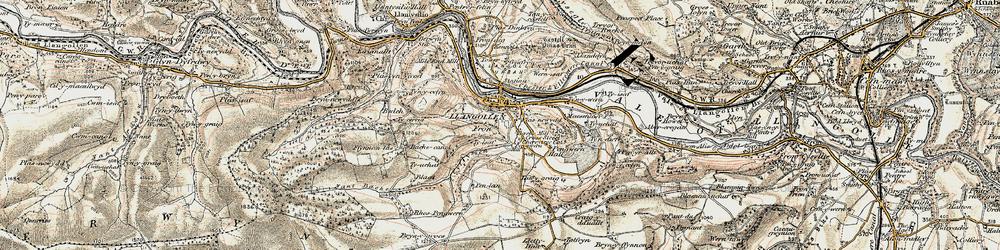 Old map of Llangollen in 1902-1903
