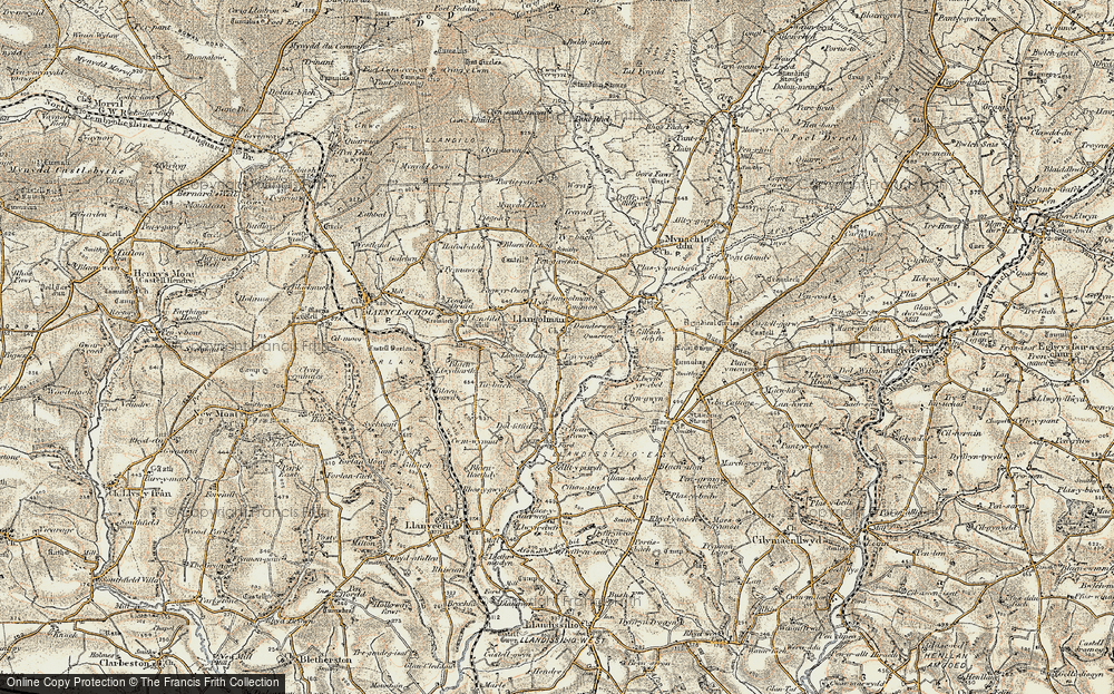 Old Map of Historic Map covering Alltypistyll in 1901