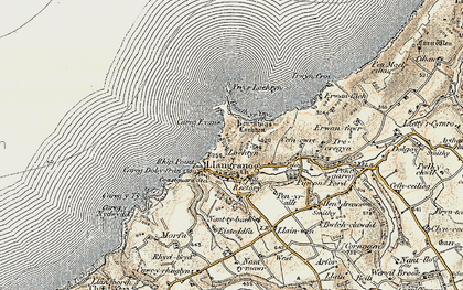 Old map of Ynys-Lochtyn in 1901-1903