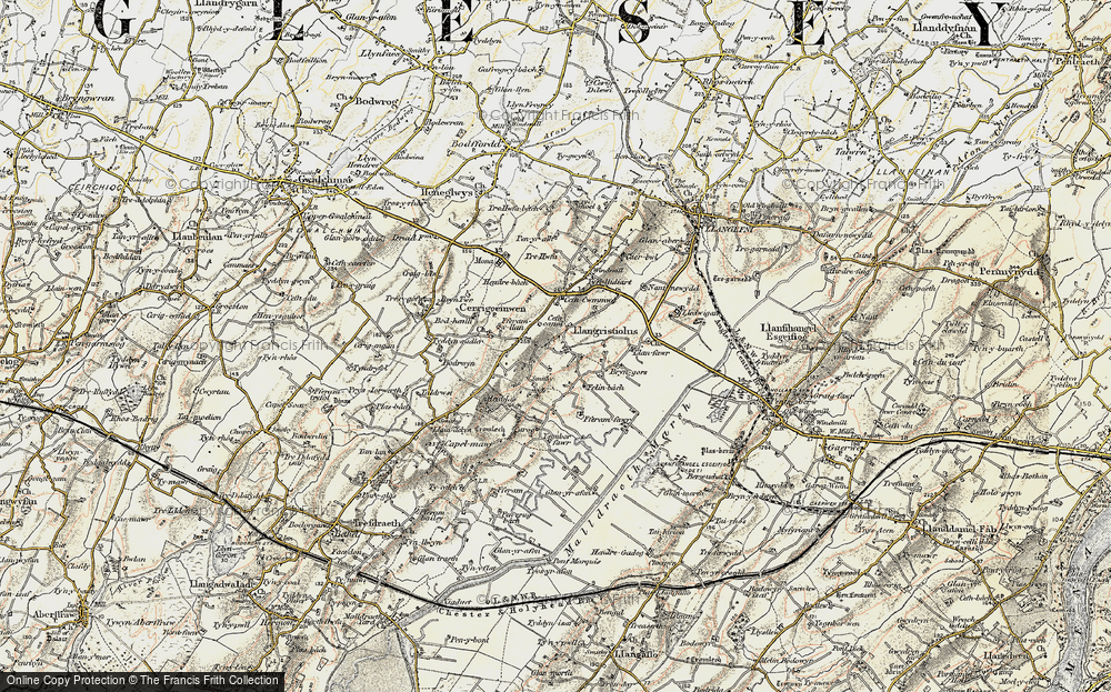Old Map of Historic Map covering Afon Cefni in 1903-1910