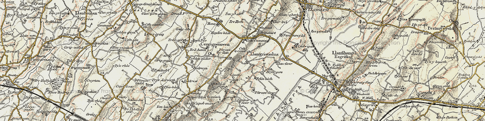 Old map of Afon Cefni in 1903-1910
