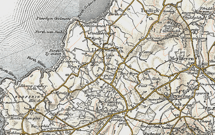 Old map of Llangwnnadl in 1903