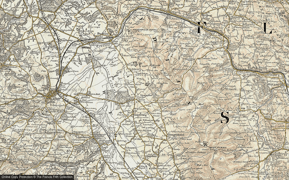 Old Map of Historic Map covering Bancar in 1902-1903
