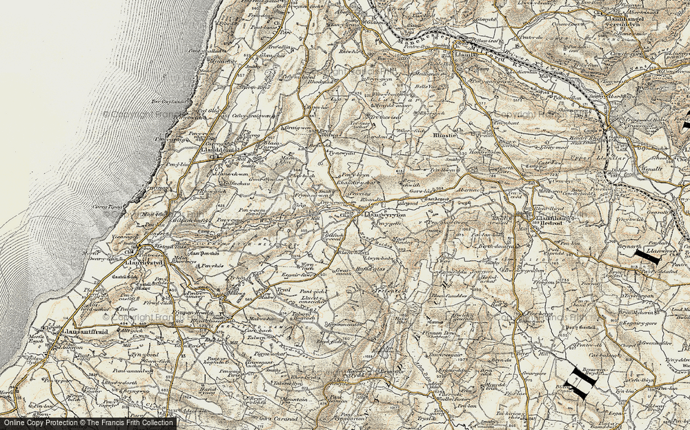 Old Map of Historic Map covering Afon Wyre in 1901-1903
