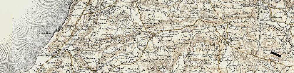 Old map of Afon Wyre in 1901-1903