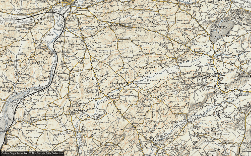 Old Map of Historic Map covering Alltycadno in 1901