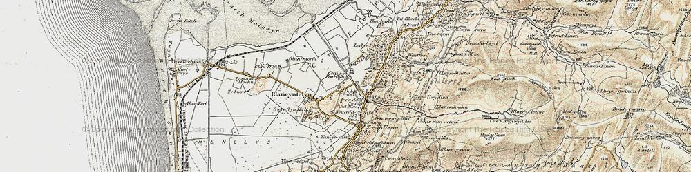 Old map of Llangynfelyn in 1902-1903