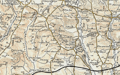 Old map of Bank y llain in 1901