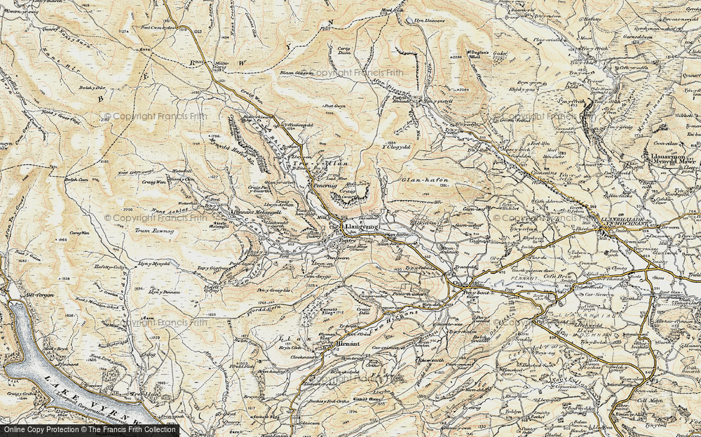 Old Map of Historic Map covering Afon Eirth in 1902-1903
