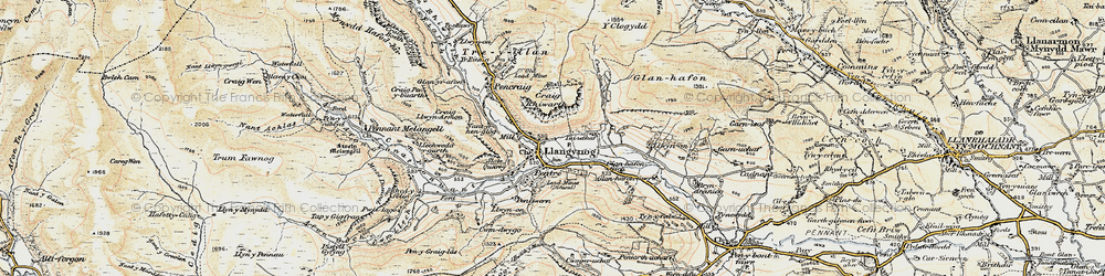 Old map of Llangynog in 1902-1903