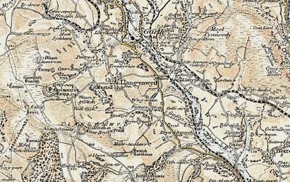 Old map of Llangynwyd in 1900-1901